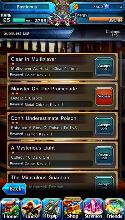sub-quests in grand summoners