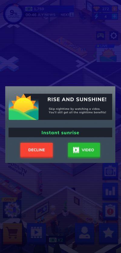 tv empire tycoon instant sunrise