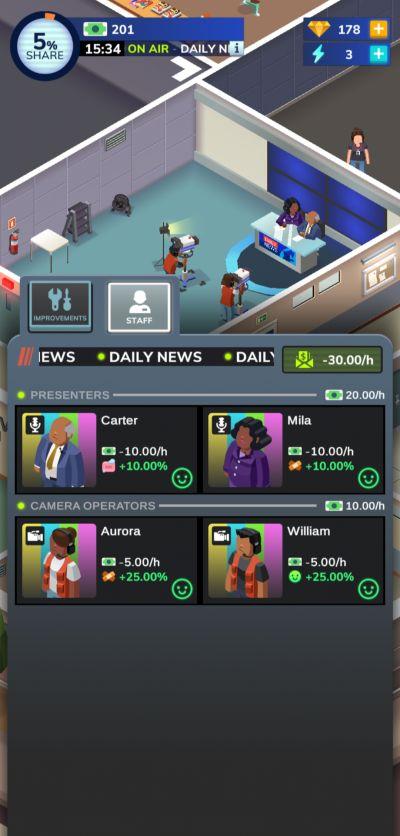 tv empire tycoon news staff