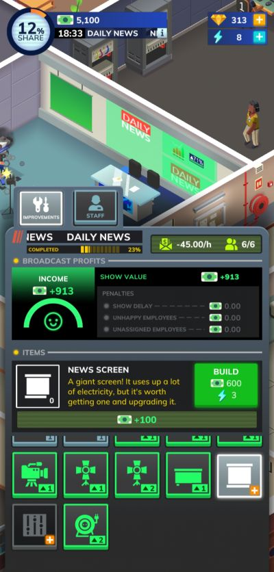 upgraded news set in tv empire tycoon