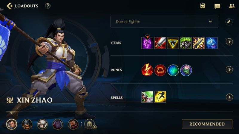 xin zhao loadout league of legends wild rift