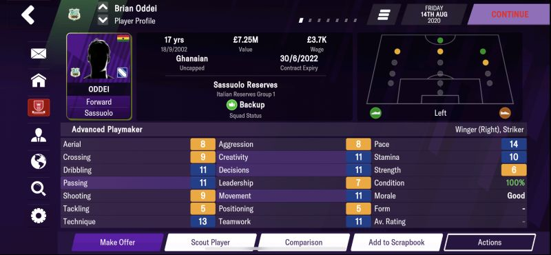 brian oddei football manager 2021 mobile