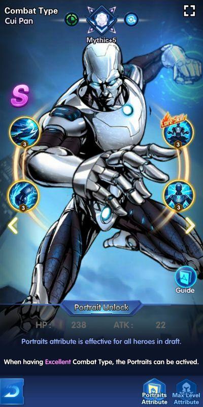 combat type cui pan x-hero idle avengers
