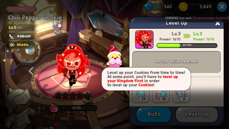 levelling up cookie run kingdom