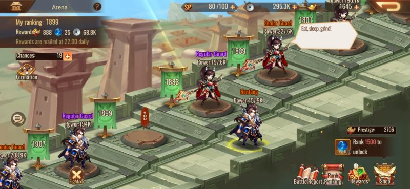 arena fight dynasty scrolls