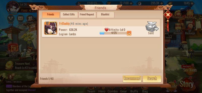 adding friends dynasty scrolls