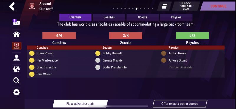 staff management football manager 2021 mobile
