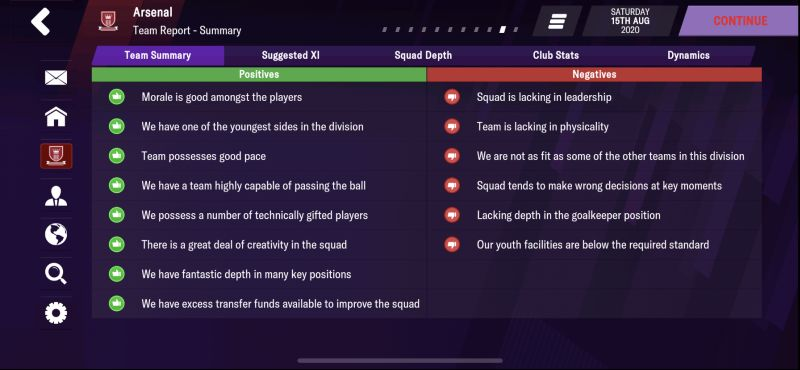 football manager 2021 mobile team report