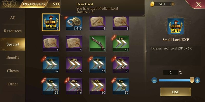 guns of glory mail and inventory
