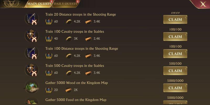 guns of glory main quests