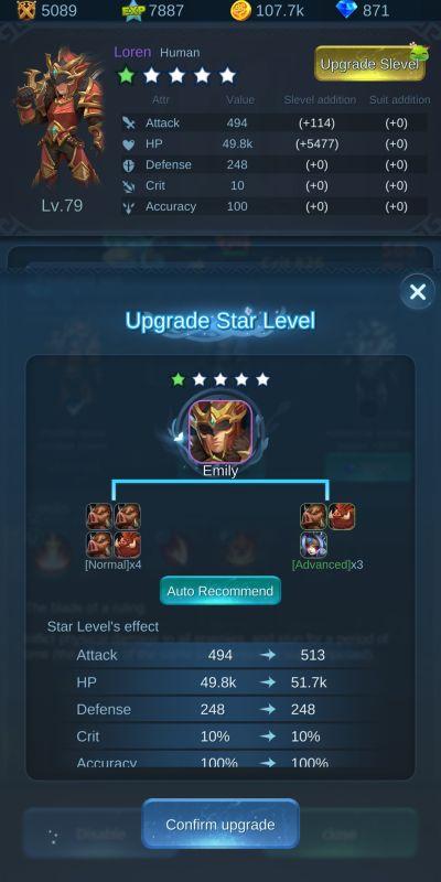 unit upgrade star level mist forest