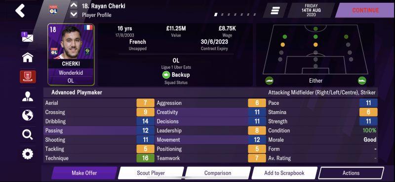 rayan cherki football manager 2021 mobile