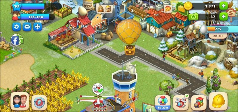 hot air balloon in township