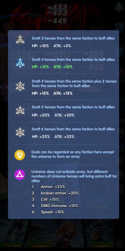 faction buffs x-hero idle avengers