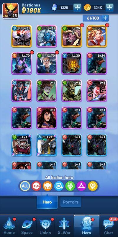team roster x-hero idle avengers
