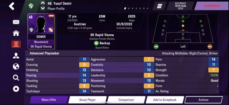 yusuf demir football manager 2021 mobile