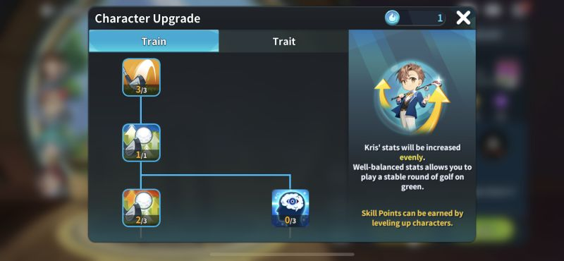 character upgrade birdie crush fantasy golf