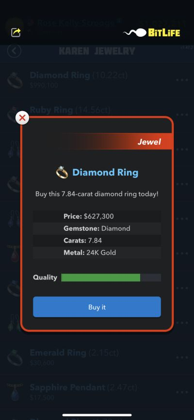bitlife diamond ring