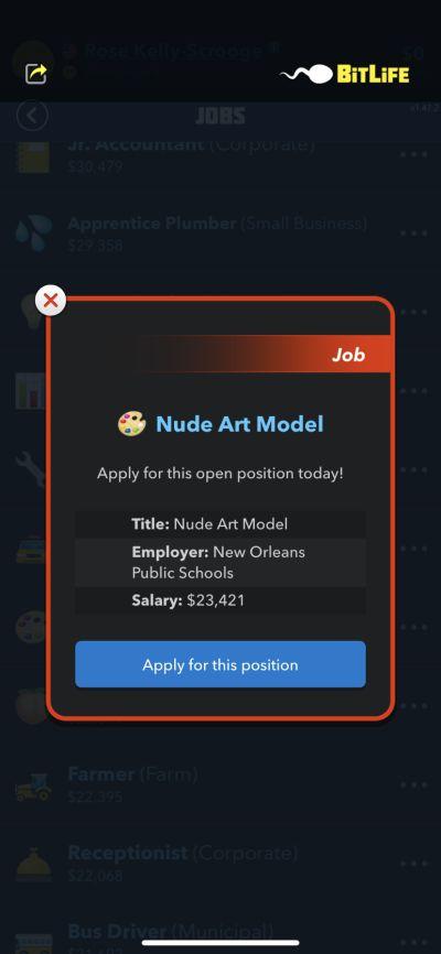 bitlife nude art model job