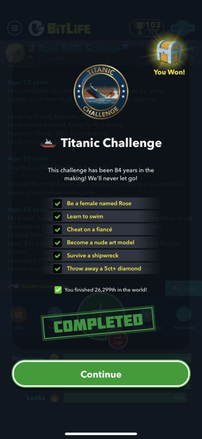 bitlife titanic challenge requirements