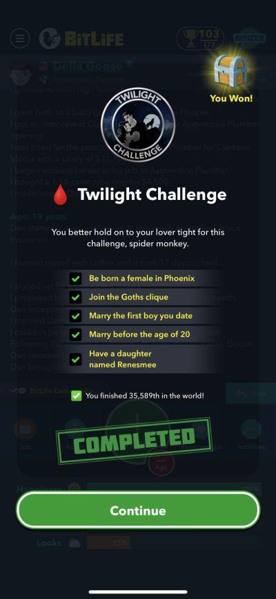 bitlife twilight challenge requirements