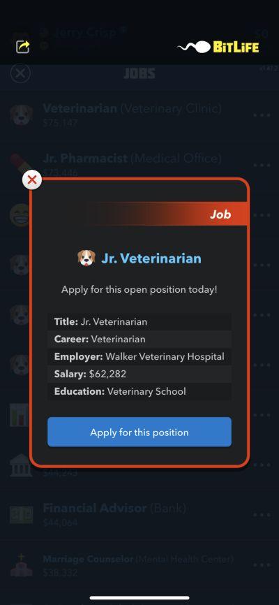 bitlife veterinarian job