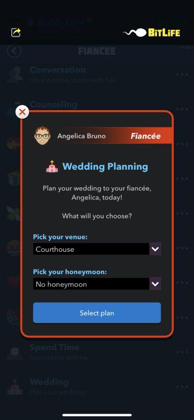 wedding planning in bitlife