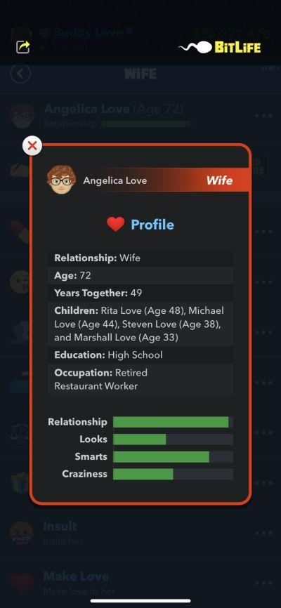 bitlife wife profile
