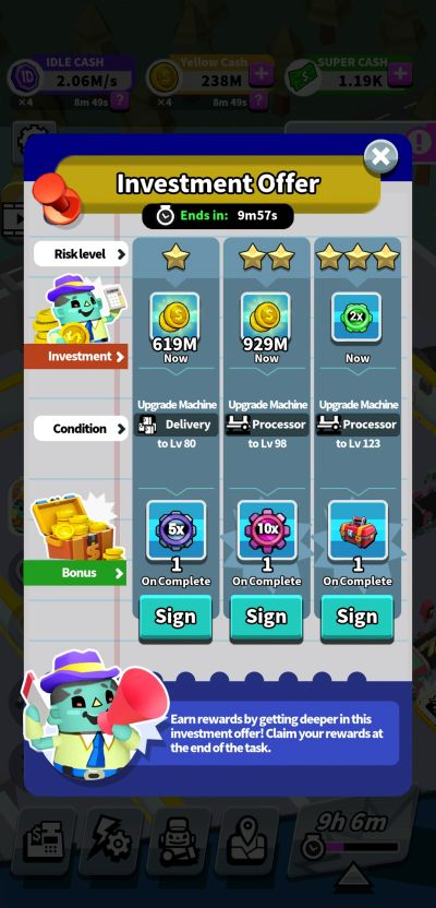 investment offer idle super factory