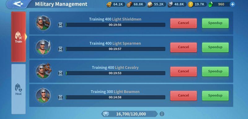 infinity kingdom military management