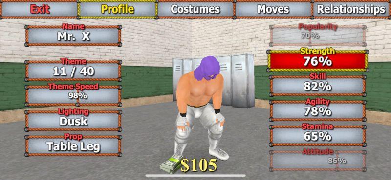 wrestling empire customizing and training wrestler