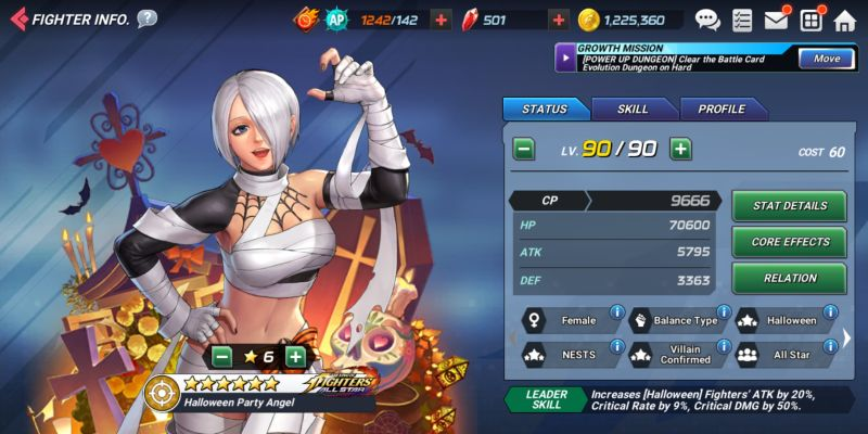 halloween party angel the king of fighters allstar