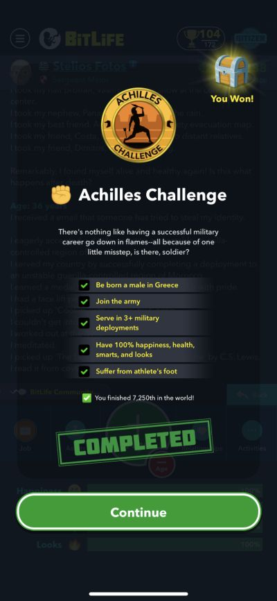 bitlife achilles challenge requirements