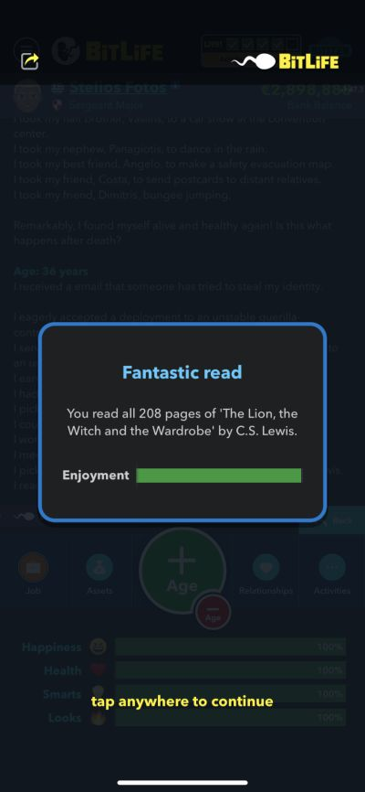 reading a book in bitlife