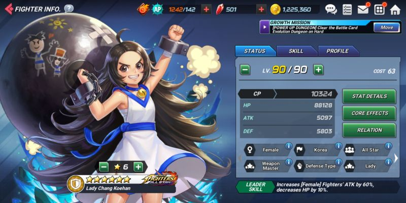 lady chang koehan the king of fighters allstar