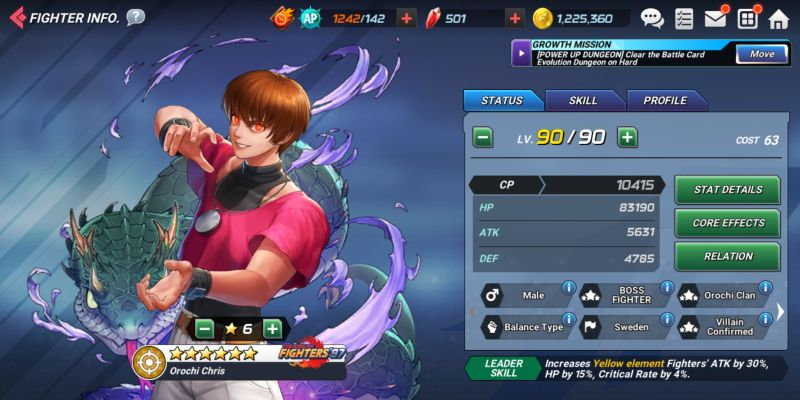 orochi chris the king of fighters allstar