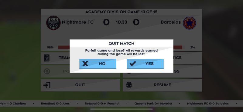 dream league soccer 2021 quit match
