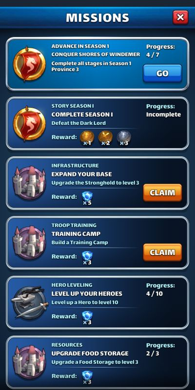 empires & puzzles missions