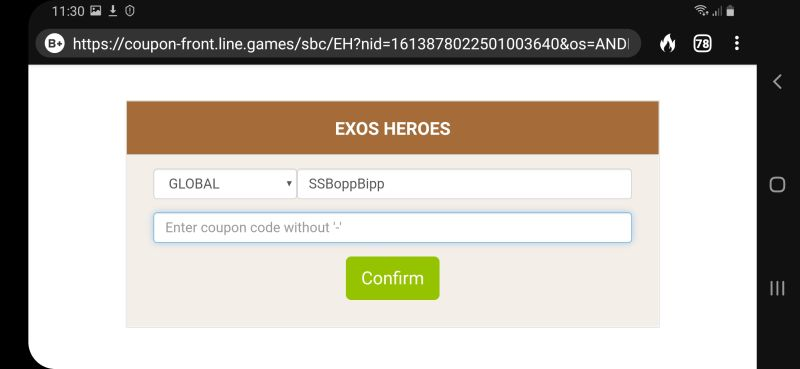 exos heroes gift code step 5
