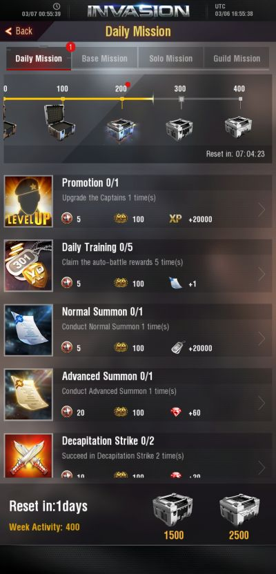 invasion modern empire daily missions