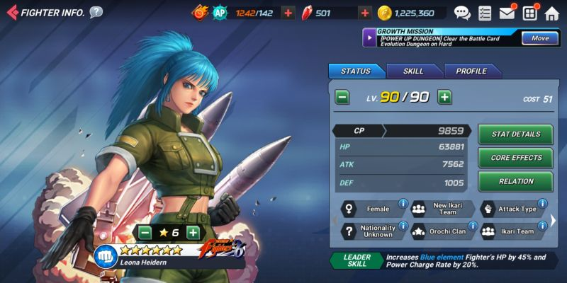 leona the king of fighters allstar