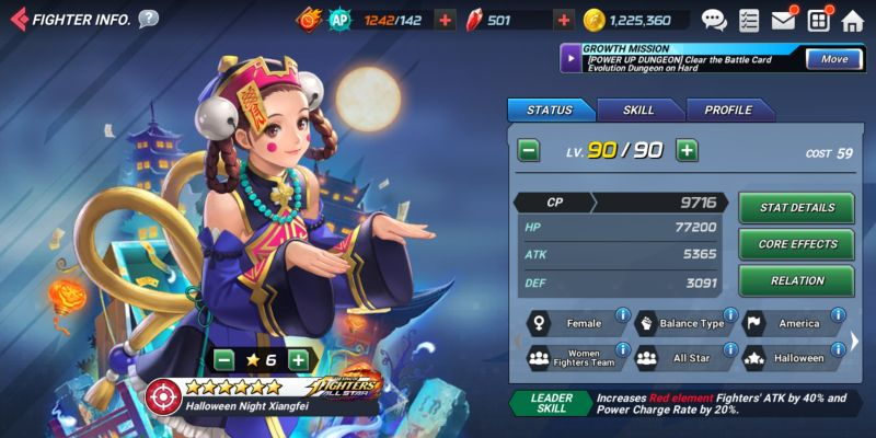 halloween knight xiangfei the king of fighters allstar