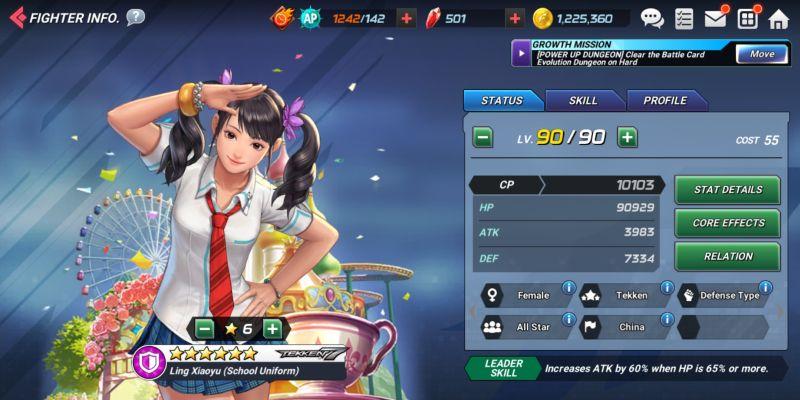 ling xiaoyu school uniform the king of fighters allstar