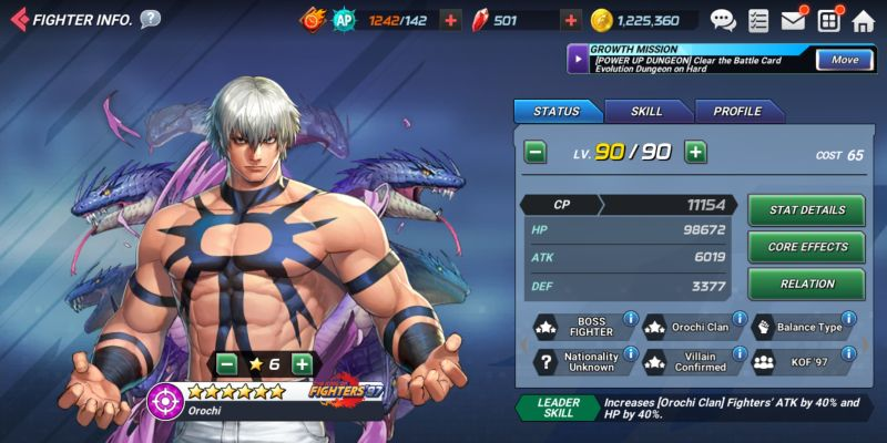 orochi the king of fighters allstar
