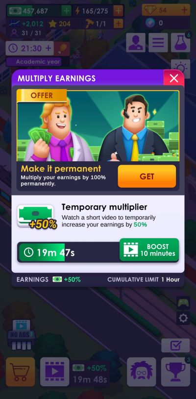 university empire tycoon income multiplier