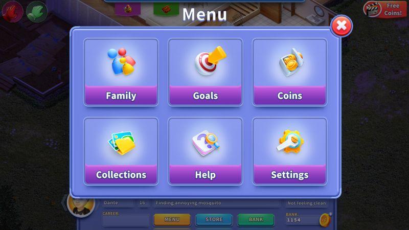 virtual families 3 menu
