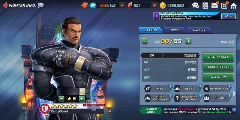 zero clone the king of fighters allstar