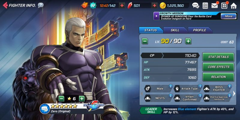 zero original the king of fighters allstar