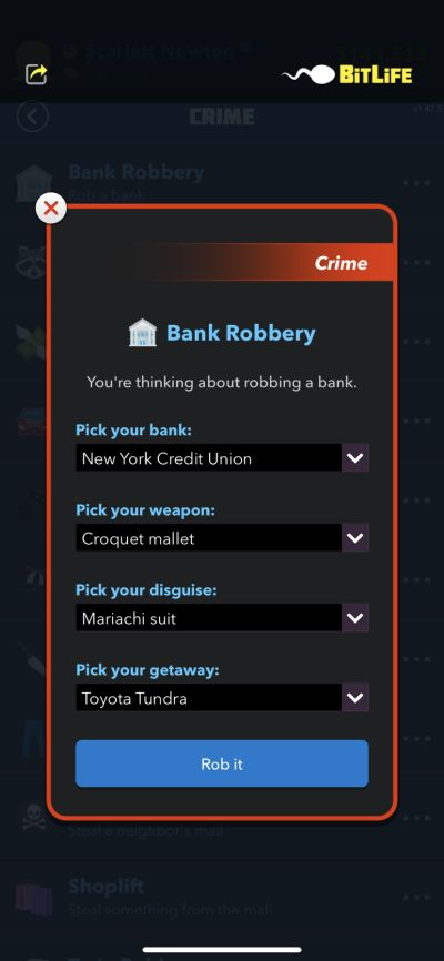 bank robbery in bitlife