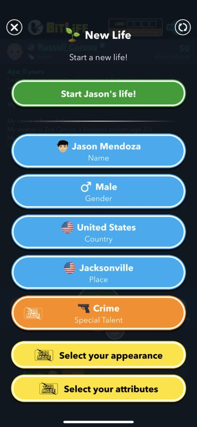 character creation in bitlife